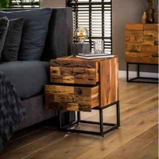 Table de chevet MILL bois massif acacia 2 tiroirs